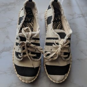 DV Black and White Striped Espadrilles Flat Form